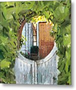 Beyond The Gate - A Scene From Mackinac Island Michigan Metal Print