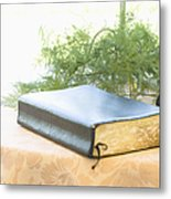 Bible And Microphone On Table Metal Print