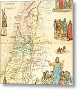 Biblical Map Palestine Metal Print