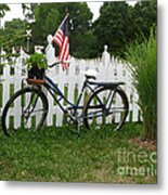 Bicycle And Picket Fence Metal Print