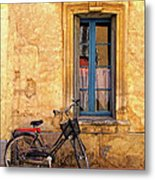 Bicycle And Window In France Metal Print