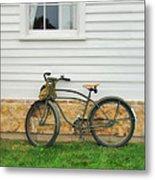 Bicycle By House Metal Print