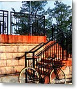 Bicycle By Train Station Metal Print