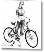 Bicycle Girl Metal Print