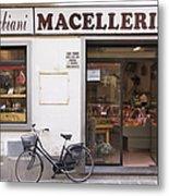 Bicycle In Front Of Italian Delicatessen Metal Print