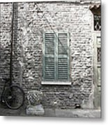 Bicycle Leaning Against A Stone House Metal Print