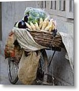 Bicycle Loaded With Food, Delhi, India Metal Print