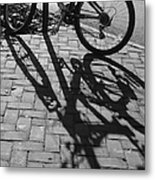 Bicycle Shadows In Black And White Metal Print