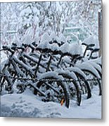 Bicycles In The Snow Metal Print