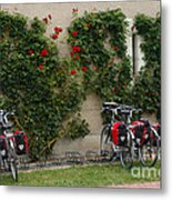 Bicycles Parked By The Wall Metal Print