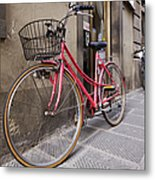 Bicycles Parked In The Street Metal Print