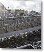 Bicycles Parked On City Sidewalk Metal Print