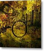 Bicyclist On The Move No. Ol4 Metal Print