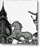 Big Ben And Boudica Charcoal Sketch Effect Image Metal Print