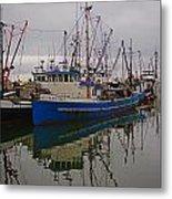 Big Blue Fishing Boat Metal Print