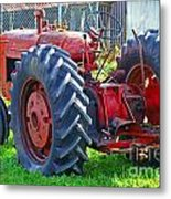 Big Red Rubber Tire Tractor Metal Print