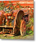 Big Red Tractor Metal Print