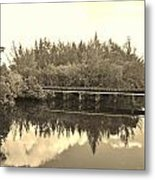 Big Sky And Dock On The River In Sepia Metal Print