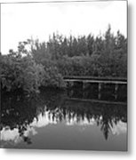 Big Sky On The North Fork River In Black And White Metal Print
