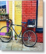 Bike Leaning On The Colorful City Walls Of Asheville  Metal Print
