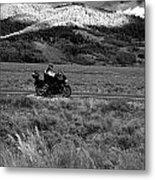Bike Run Through Yellowstone Metal Print