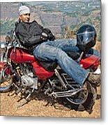 Biker Back Rest Metal Print