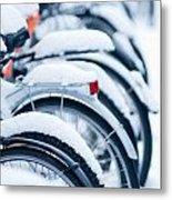 Bikes In Snow Metal Print