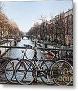 Bikes On The Canal In Amsterdam Metal Print