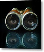 Binoculars With Eyes Looking At You Metal Print