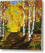 Birch Trees And Road Fall Painting Metal Print