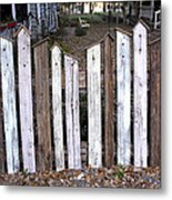 Bird House Fence With Black Cat Metal Print