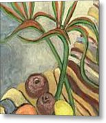 Bird Of Paradise Flowers And Fruits On A Carpet In Yellow Brown Green Metal Print