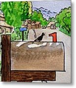 Bird On The Mailbox Sketchbook Project Down My Street Metal Print