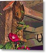 Birdhouse Morning Glories Two Metal Print