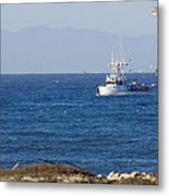 Birds Flying Over A Commercial Fishing Metal Print