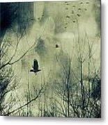 Birds In Flight Against A Dark Sky Metal Print by Sandra Cunningham