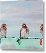 Birds On Christmas Lights Metal Print