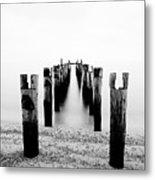 Birds Resting On A Derelict Pier Metal Print by Scott Masterton