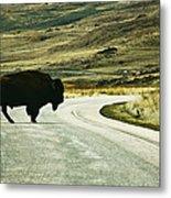 Bison Crossing Highway Metal Print