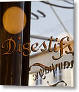 Bistro Sign For Digestives Metal Print