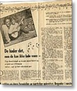 Bits From Danish Article From The Fifties Metal Print