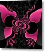 Black And Pink Fractal Butterfly Metal Print