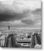Black And White Aerial View Of An Overcast Sky Above The Eiffel Tower Metal Print by Stockbyte