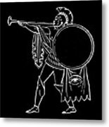 Black And White Ancient Greek Warrior Metal Print
