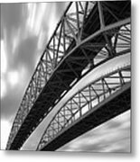 Black And White Blue Water Bridge Metal Print