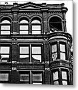 Black And White Brick Apartment Building Metal Print