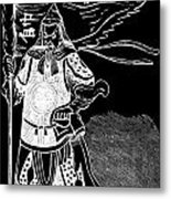 Black And White Chinese Warrior Metal Print