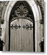 Black And White Doorway Metal Print