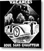 Black And White French Car Metal Print