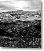 Black And White Painted Hills Metal Print